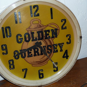 Old Golden Guernsey Advertising Clock - Advertising