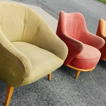 Mid century barrel chair