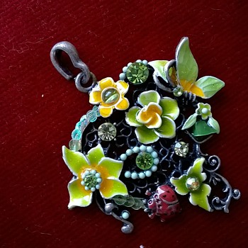 Kitschy Enameled Pewter Pendant - Costume Jewelry