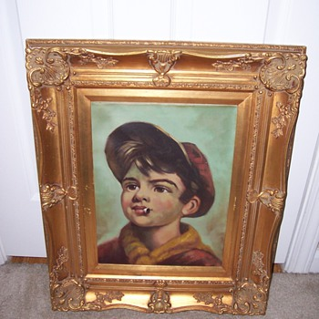 Mid-Century &quot;Boy Smoking&quot; Oil Painting