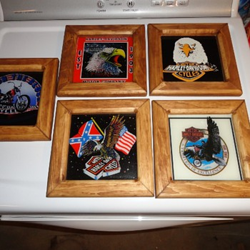1980s Carnival Prize Fair Glass Reverse Painting Harley Davidson 6X6