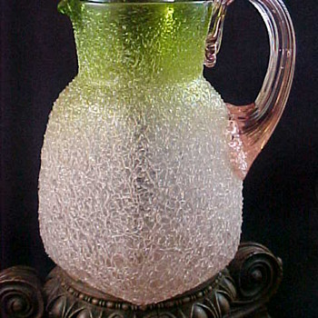 Bohemian Pink Verde Overshot & Crackle Art Glass Pitcher - Art Glass