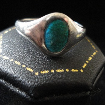 Art Nouveau Silver enamel ring by CHARLES HORNER 1912