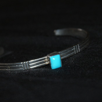 Small Sterling Cuff with Turquoise