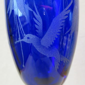 Cobalt Blue Champagne Flute Cobalt Blue Champagne Glass etched with Hummingbird