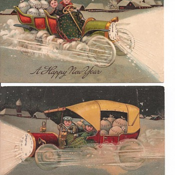 Santa Zooming Around In Fancy Car! - Postcards