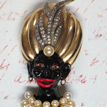 Vtg Unsigned Blackamoor Pin
