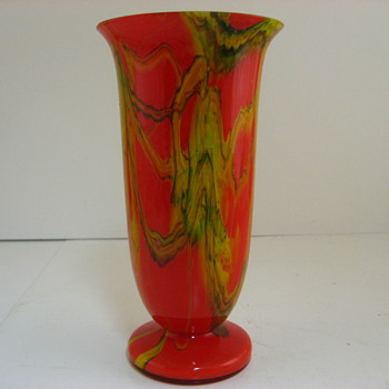 red yellow green aventurine vase #2 - Art Glass