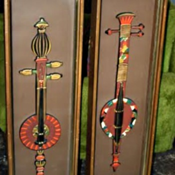 "Pair of ""Turner Mfg. Co.""  Shadow Boxes /Fantasy Design ""3 String Lutes"" / Circa 1960's-70's"
