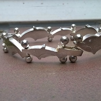 """It's Not Silver"", She Said...Sterling 70s/80s Dolphin Bracelet Garage Sale Find $2.00"