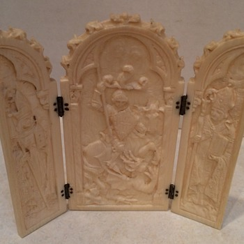 Antique Carved Ivory Triptych