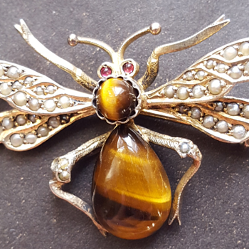 Tiger's eye big Victorian insect  brooch. - Fine Jewelry