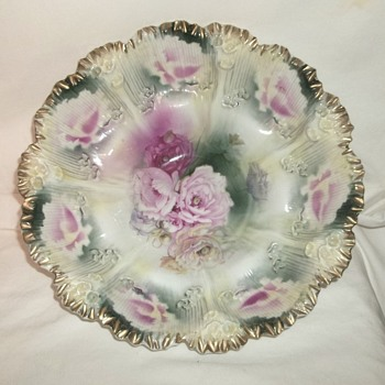 Gorgeous Huge RS Prussia Bowl Signed Gesetzlich Geschützt - China and Dinnerware