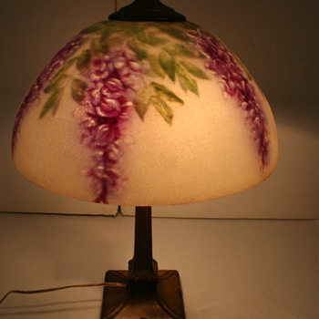 Pittsburg Reverse Painted Lamp Wisteria Design
