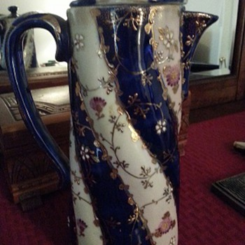 Blue & Gold Coffee (?) Pot - China and Dinnerware