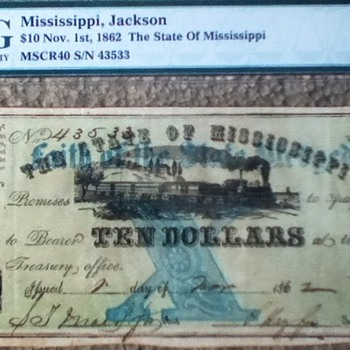 1862 Mississippi Note - US Paper Money