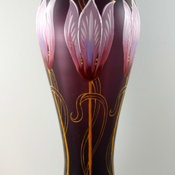 Bohemian enameled iridescent vases - a couple of mystery pieces  - Art Glass