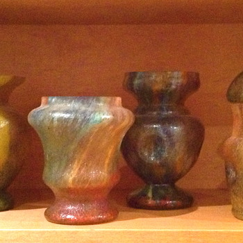 Czechoslovakia Sand Paper Finish Glass Vases.  Complete Collection of 20