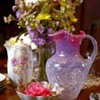 Pink Opalescent Glass Pitcher