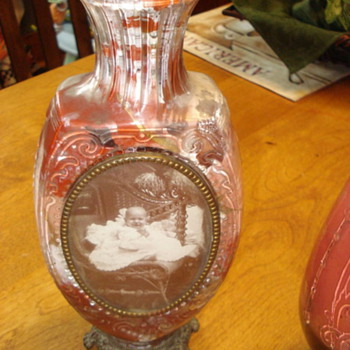 my grandmothers candle holder??--the photo is my grandfather - Art Glass