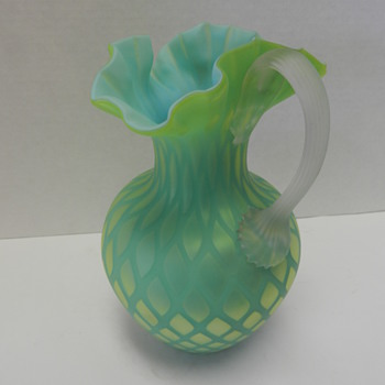 DIAMOND QUILTED SATIN GLASS PITCHER,YELLOW & BLUE - Art Glass
