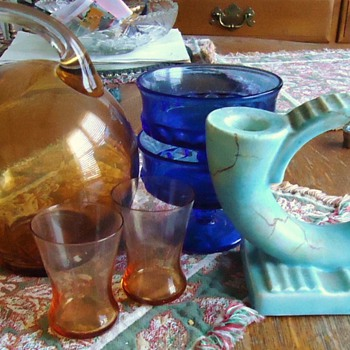 Eng. candle holder, cobalt blue dishes, and orange pitcher and glasses? - Art Glass