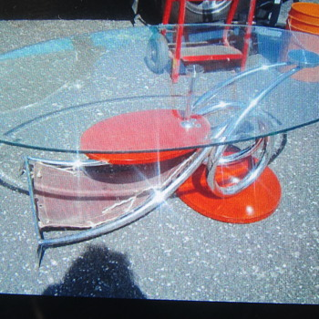 Chrome twisted leg table