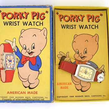 c.1949 Porky Pig Watch by Ingraham in Box - Wristwatches