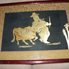 very unusual early asian silk and wood picture