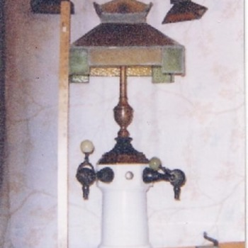 Leaded Glass Soda Fountian - Spigot with Side Lamps - Art Glass