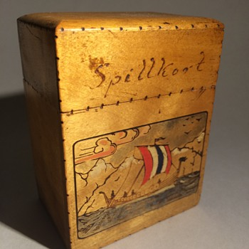 Norwegian Sailor's Playing Cards Wooden Box (Treen) - Cards