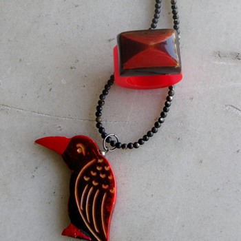 Upcycled red&black bakelite and celluloid  - Costume Jewelry