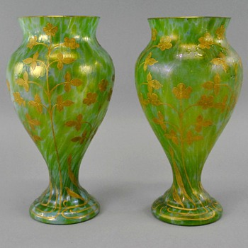 Pair of Loetz Dek I/160 Diana Vases - Art Glass