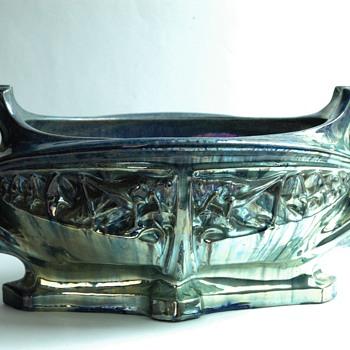 """JULES CAYETTE  art nouveau lustre pottery jardiniere """" les sauterelles """" 1906"""