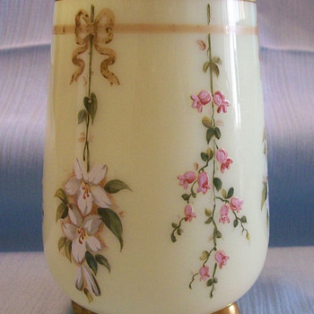 Harrach Enameled Custard Glass Vase with Ball Feet, c. 1875-1880 - Art Glass