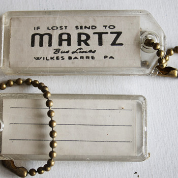Martz Trailways Bus Luggage Tags….