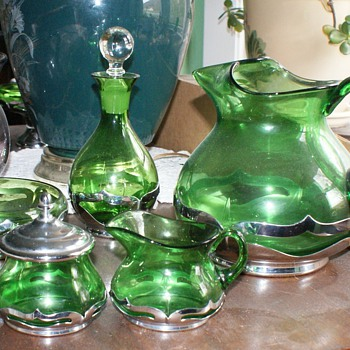 Farber Brothers items with green glass - Art Deco