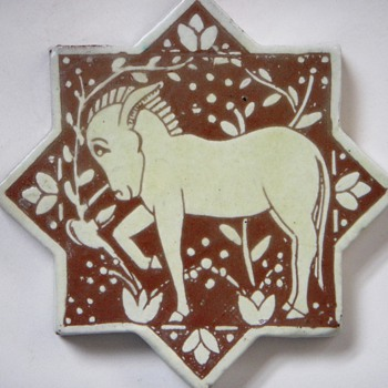 Arts and Crafts Star Shaped Tile~Handmade, with Donkey relief - Art Pottery