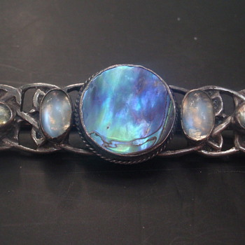 Arts & Crafts Abalone & Moonstone Brooch - Arts and Crafts