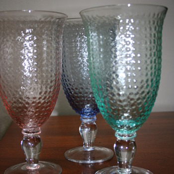 Depression Glass? Fenton Hobnail? Wine Goblets.