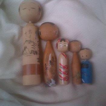Vintage wooden Kokeshi dolls