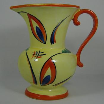 Czech Art Deco era Hand Painted Pottery Pitcher 1920's - 30's Great Deco Decor