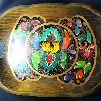 Another Hand Painted Mexican Tray Made of Light Wood