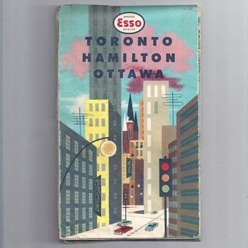 1959 ESSO TORONTO HAMILTON OTTOWA MAP