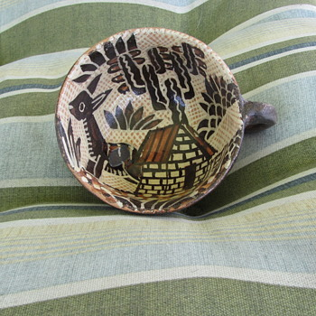 1920-30s Rare Find - Lucano Petatillo Coffee Cup - Traditional Folk Mexican Pottery -  Tlaquepaque
