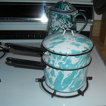 Graniteware/Enamelware Swirl Pattern Double Boiler - Kitchen