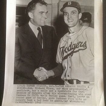 AP Wire Dodger Carl Erskine and Senator Richard Nixon  - Baseball