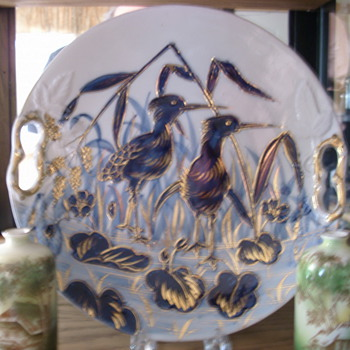 Early RS Prussia cobalt plate, mold A8, Shore birds - China and Dinnerware