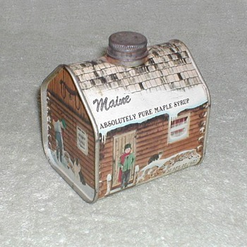 Maple Syrup Log Cabin tin - Advertising