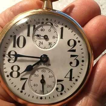 1909 Elgin up $ down wind indicator- 16s-21j- lever set grade 454- Father Time - Pocket Watches